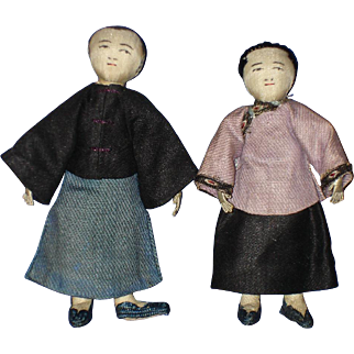 Shaohsing Industrial Mission Cloth Couple Dolls China 1920s