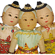 "Three 12"" Vintage Bangkok Thailand Cloth Dolls"