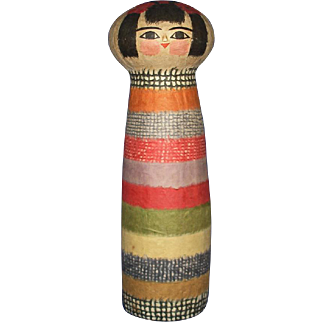 "Large 15"" Paper Mache Kokeshi Artist Doll Japan Signed"
