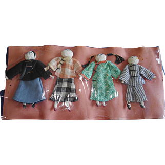 Shaohsing Missions Cloth Dolls on Original Card China 1920s-on