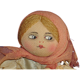 "4.5"" Russian Painted Face Cloth Doll France 1922-on"