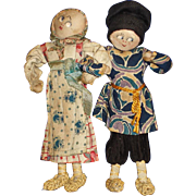 Early Pair of Russian Cloth Comic Character Dolls Well Loved!