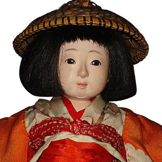 "Early 13"" Ichimatsu-ningyo Girl Doll in Original Kimono with Straw Hat Japan"