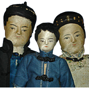 Three Early Chinese Cloth Dolls with Painted Silk Faces China