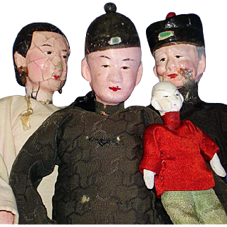 Four Early Chinese Composition and Cloth Dolls on Wire Stands