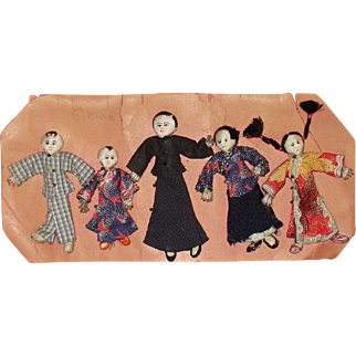 Shaohsing Industrial Mission Cloth Family Dolls China 1920s