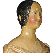 """17"""" Milliners' Model 1840s Paper Mache Doll with Exposed Ears Germany"""
