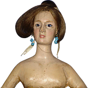 """10"""" Early Wooden Lady Doll with Glass Eyes Unusual"""