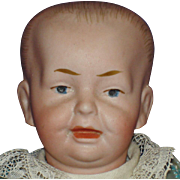 Cabinet Size German Character Baby Bisque Head Doll Marked B