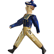 """Early 3"""" Peg Wooden & Paper Mache Sailor Military Doll"""