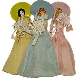 3 Vintage Bridesmaid Party Favors Dolls Made from Pipe Cleaners & Crepe Paper