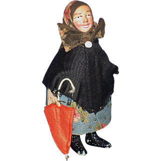 Unusual Pin Cushion Doll with Paper Mache Head & Metal Feet