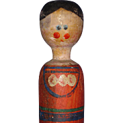 "10"" Swaddling Baby Wooden Folk Art Doll Possibly European"