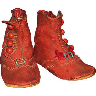 Early Turkey Red Leather Doll Boots for Bisque China or Paper Mache