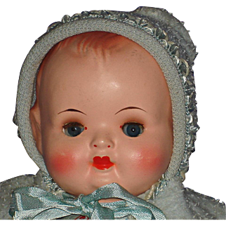 """13"""" German RK Plastic & Oilcloth Baby Doll in Box with Additional Clothes"""