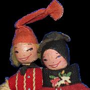"Vintage 3 3/4"" Cloth & Crepe Paper Dolls European"