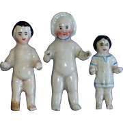 3 Small Frozen Charlotte China Dolls for Restoration Germany