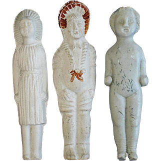 3 Bisque Frozen Charlotte Dolls 2 with Molded Clothes & Bonnets Germany