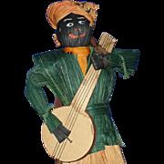 Black Musician & 3 Girl Corn Husk Doll Lot Vintage