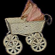 """5"""" German White Tin Doll Carriage Vintage"""