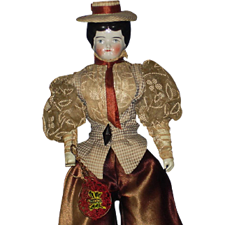Butterfly Catcher China Doll in Great Costuming! Germany