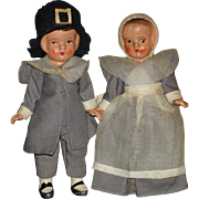 "4.75"" Bisque Pilgrim Dolls Japan 1930s"