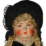"11"" Bing Art Pouty Cloth Doll Original Germany 1922-32"