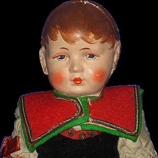 "10 1/2"" Bing Art Pouty Cloth Girl Doll Germany 1922-32"
