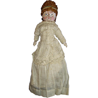 """11"""" Wax Over Composition Squeaker Doll Original Wig & Glass Eyes"""