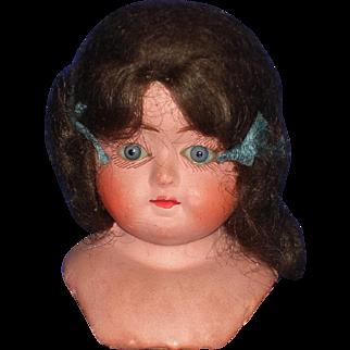 Paper Mache Glass Eye Shoulder Head Germany 1880's-on
