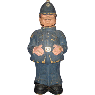 """13"""" Bobby Candy Container Scotland Vintage Police Officer"""