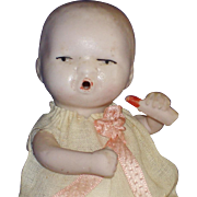 """4"""" All Bisque Jtd. Baby Doll & Bottle #773 Germany"""