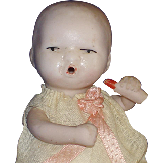 "4"" All Bisque Jtd. Baby Doll & Bottle #773 Germany"