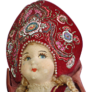 Early Ornate Russian Czarina Cloth Doll - Red Tag Sale Item