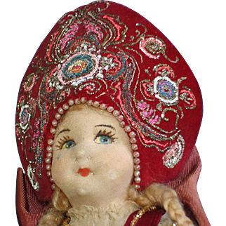 Early Ornate Russian Czarina Cloth Doll