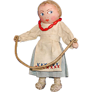 """Early 5"""" Russian Painted Face Cloth Doll Jumping Rope"""