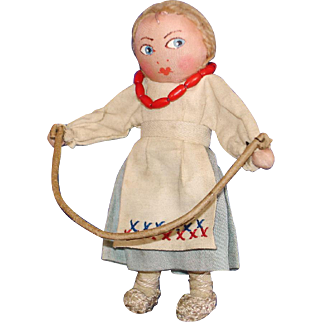 "Early 5"" Russian Painted Face Cloth Doll Jumping Rope"