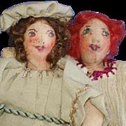 Painted Face Cloth Sisters Primitive Dolls Vintage