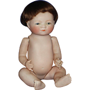 """8"""" All Bisque SE Bye-Lo Baby Doll with Wig  Grace Storey Putnam  c1925 Not Perfect"""