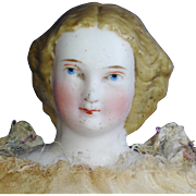 """8.5"""" Parian Molded Bun Untinted Bisque Doll Germany 1860's on"""
