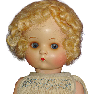 """10.5"""" Just Me Painted Bisque AM 310 Doll Original Tagged Dress Germany c1930s"""