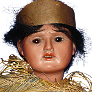 "9"" Scowling Indian Bisque & Composition Doll Germany 1895-on"