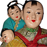 Chinese Mother & 2 Children Composition & Cloth Dolls HOng Kong 1960s