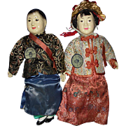 Chinese Bride & Groom Composition & Cloth Character Dolls Tripod Mark Hong Kong