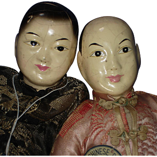 Chinese Bride & Groom Composition & Cloth Character Dolls Tripod Mark Hong Kong As Is