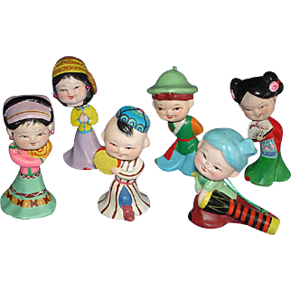 6 Chinese Bobblehead Composition  Dolls MIB! Bobbing Heads China