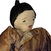 Early Ink Face Chinese Cloth Rag Warrior Doll Well Loved!