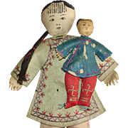 Chinese Inf Face Mother & Child Cloth Flat Faced Dolls Early
