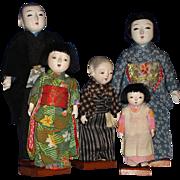 Vintage Gofun Japanese Family Dolls