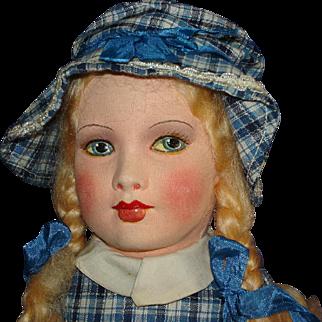 Tagged Dean's Rag Cloth Girl Doll Original England 1920s-on